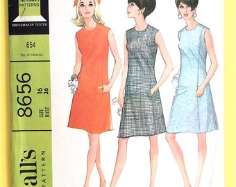 1960s McCalls 8656 Sleeveless Mod Panel Dress Interfaced Pockets and Neck Vintage Sewing Pattern  Bust 36