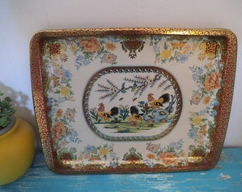 Vintage Daher Metal Tray ~ Daher Decorated Tray ~ Rooster ~ Floral ~ Large Metal Tray ~ Made in England