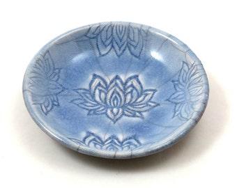 RAKU Lotus Offering Bowl in Lavender Handmade Pottery