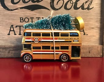 Double Decker Bus Carrying Christmas Tree Ornament
