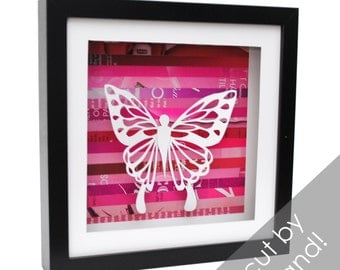 butterfly - shadowbox made from recycled magazines, paper cutting, nature, mystical, butterfly, spring, delicate, hand cut, depth, girl