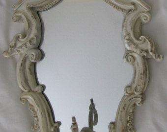 Mid Century Hollywood Regency Carved Wall Mirror Cream with Gold Edges Great Fleur de Lis Design