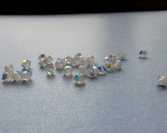 3mm Crystal AB 2X Swarovski Bicone Beads - (60)