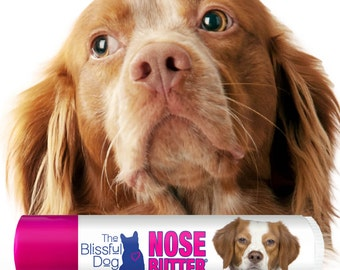Brittany Spaniel Original NOSE BUTTER® Handcrafted All Natural Balm For Dry Crusty Dog Noses CHOICE: One .15 oz Tube or 3-Pack .15 oz Tubes