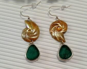 Nordic Teal Sea Glass Silver Nautilus Dangle Earrings