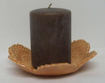 Pumpkin Porcelain Doily Impressed Shallow Bowl