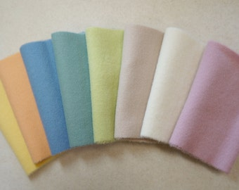 "Hand Dyed Wool Felt, Pastel Pink Four 6"" x 15-16"" pieces, Perfect for Rug Hooking, Applique' and Crafting"