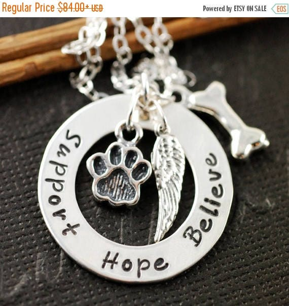 15% OFF SALE Dog Paw Necklace, Sterling Silver Necklace, Animal Lover, Dog Paw, Dog Bone, Pet Memorial Necklace, Angel Wing Necklace, Memori