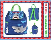 SALE 28 Fonts- Toddler Boy's Personalized SHARK Camo Quilted Backpack Monogrammed FREE- Diaper Bag/ Day Care/ Book Bag~ Horse, Cow, Tractor