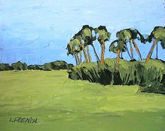 Impressionist Landscape Painting FLORIDA Plein Air SAVANNAH 8x10 Palm Trees Meadow Lynne French