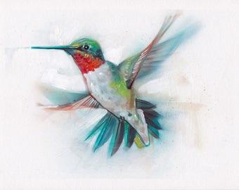 Hummingbird Acrylic Painting Original Art