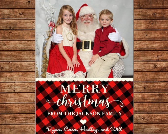 Christmas Holiday Photo Card Red Black Buffalo Check - Can Personalize - Printable File or Printed Cards