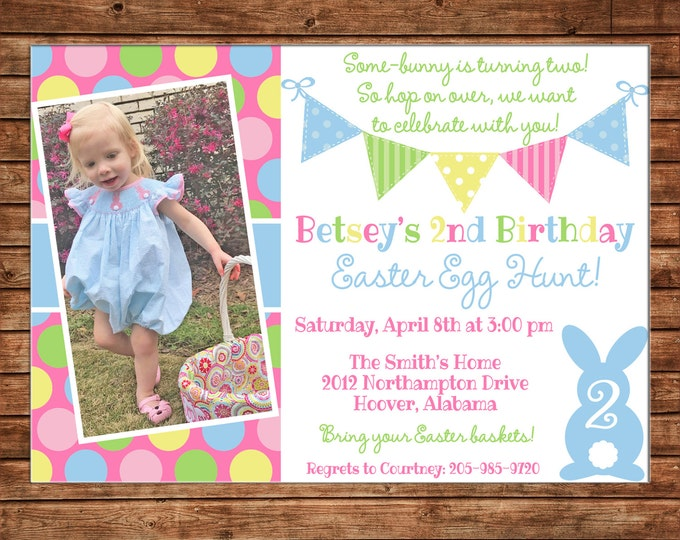 Easter Egg Hunt Bunting Bunny Rabbit Polka Dot Photo Picture Boy or Girl Baby Birthday Invitation - DIGITAL FILE