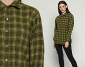 Wool Plaid Shirt PENDLETON 90s Flannel Olive Green Plaid Shirt 80s Lumberjack Button Up Long Sleeve Oversize Vintage Tartan large