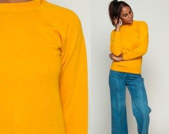 80s Sweatshirt Yellow Crewneck Sweatshirt Raglan Sleeve Plain Long Sleeve Shirt Slouchy 1980s Vintage Grunge Normcore extra Small xs