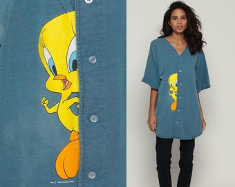 Tweety Bird Shirt Looney Tunes Tshirt Cartoon Animal Button Up Sports 90s T Shirt Graphic Vintage Tee Warner Brothers 1990s Large