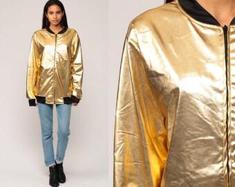 Gold Jacket 90s Bomber Jacket Lame Metallic Shiny Windbreaker Slouchy Boho Hipster Vintage Retro Extra Large xl