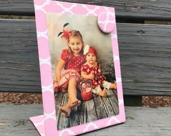 Baby Nursery,  Magnet Picture Frame, Baby Girl Reveal, Magnet Board, Magnet Board, Pink Quatrefoil, Magnetic Message Board, Desk Accessory