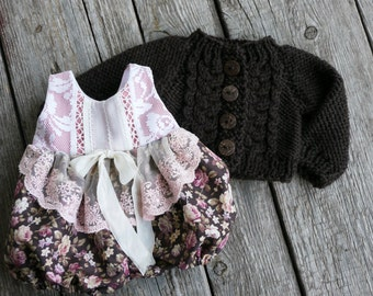Waldorf Girl Doll Clothes - Romper& Sweater fit 15,16 inch dolls brown, pink, white, lace,margenta