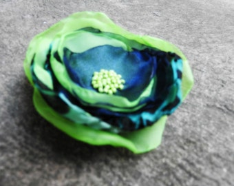 Textile Art Flower Brooch Corsage Pin Handmade One of a Kind