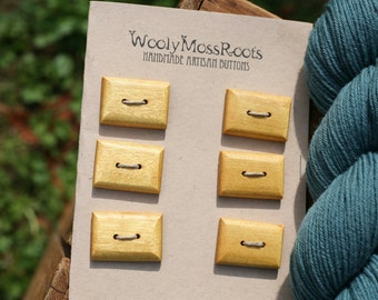 6 Yellowheart Toggle Buttons- Mahogany Wood Buttons- Reclaimed Wood- Knitting, Sewing, Craft Buttons