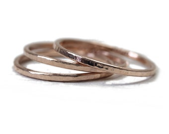 3 Skinny solid gold rings in 14k yellow or rose gold, hammered stacking ring or knuckle ring