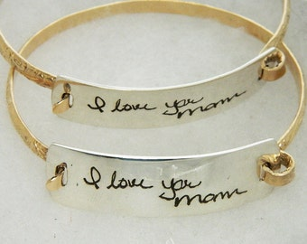 Handwriting Jewelry In Memory Signature Bracelet Silver and Gold