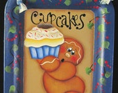 Gingerbread and Cupcake Wall Decor Hand Painted Small Tray
