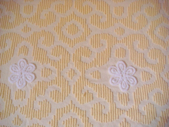 Yellow with White Floral Plush Vintage Cotton Chenille Fabric 23.5 x 32.5 Inches