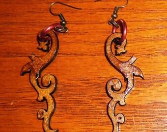 Laser-cut steampunk/tribal wood earrings. Style 2
