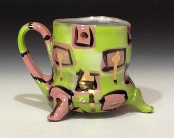 Pink and green with gold drips mug