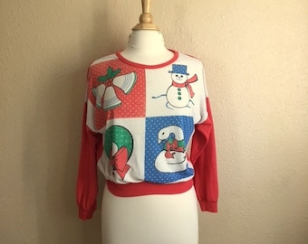 Vintage CHRISTMAS Pajama Top / 1980s Holiday Shirt / Womens Medium Large