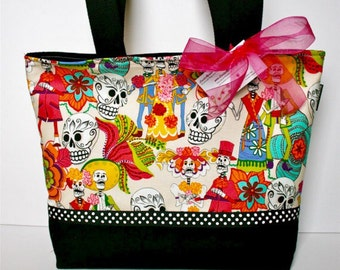LARGE TOTE - DIAPER Bag - Los Novios - Day of the Dead - Sugar Skulls - Mexican - Folklore