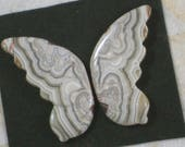 ReSERVE For Jean - Pair Wings Crazy Lace Agate Butterfly Angel Carved 38mm Tan Gray White (5302)