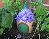 Custom Fairy House, Polymer Clay, Recycled Glass, Altered Art, Garden Decoration, Unique Gift