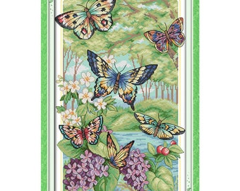 Butterflies Fly in the Forest Counted Cross Stitch 11CT 14CT Cross Stitch Sets Kits Embroidery Needlework