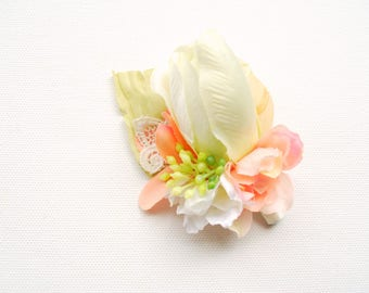 Blush Peach Green Rose Groom's Boutonniere, Pastel Groomsmen Boutonniere, Shabby Chic Weddings Accessories, Peach Green  Bridesmaids Corsage