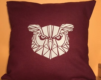 "16"" Maroon geometric owl pillow cover"