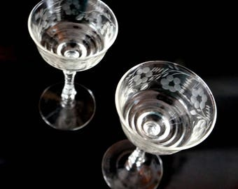 Vintage Champagne Glasses Coupes Rock Sharpe Crystal Libbey Floral Etched Wheel Cut Stems Gray Cut Set of Two