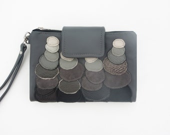 grey leather clutch wallet, leather wristlet, stonehenge clutch, unique wallet, leather clutch ombre, mothers day gift
