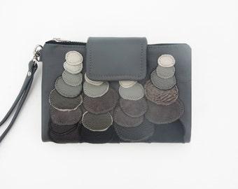 grey leather clutch wallet, leather wristlet, stonehenge clutch, unique wallet, leather clutch ombre