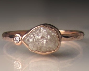 Raw Diamond Engagement Ring, Rough Diamond Ring in 14k Rose Gold, Uncut Diamond Ring