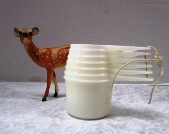 Vintage Tupperware Nesting Measuring Cups, Space Saving Complete Set Plastic Cooking Baking Kitchen, Sheer White Original Clear 6 piece Set