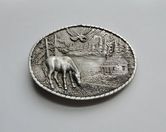 1985 Indiana Metal Craft  Solid Pewter Mountain, Eagle Horse, Cabin  Scene Belt Buckle.