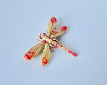 1960s Yellow and Orange Enameled DRAGONFLY Brooch. Dragonfly pin