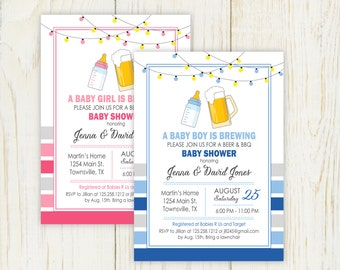 Beer and Baby Shower Invitation - digital pink or blue
