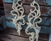 Vintage Shabby Chic Candelabra Wall Sconce Set Candle Holder Repurposed Distressed Chippy Syroco