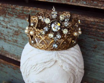 Antique Style Jeweled Crown Shabby Chic for Angel Statue Santos Ornament Distressed Metal with Clear Rhinestones and Pearls Baroque Ornate