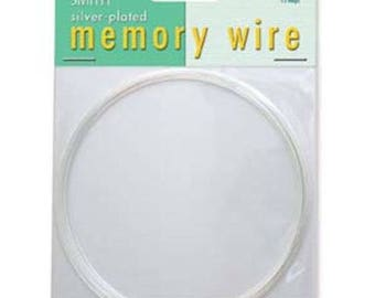 """Free UK postage - Silver plated memory wire, necklace, by Beadsmith, 12 loops 3.6"""" dia"""