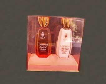 Rare Vintage Coty L'Aimant Fragrance Set, L'Aimant Bath Oil Parfait, L'Aimant After Bath Moisture Lotion, Coty Fragrance, Bath and Beauty